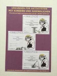 A1-866: AATiS e.V. Amateurfunk und Schule — diverse diplome și certificate pentru activități cu tineri și copii